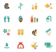 Check out Beauty and Spa Icons by Microvector on Creative Market