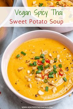 Asian Sweet Potato Recipe, Thai Sweet Potato Soup, Sweet Soup, Sweet Potato Recipes, Entree Recipes, Healthy Dinner Recipes, Soup Recipes, Vegan Recipes, Vegetarian Dinners