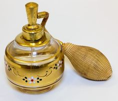 Vintage Holmspray West Germany Gold Painted Glass Perfume Bottle w Atomizer | eBay