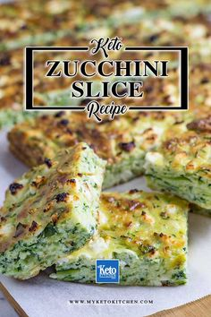 "Keto Zucchini Slice with ""Cheddar & Feta"" – Delicious Low-Carb Low Carb Vegetarian Zucchini Bake. This easy recipe makes a great gluten free lunchbox addition. It's deliciously cheesy and loaded with vegetables – that's one healthy meal! Low Carb Lunch, Low Carb Breakfast, Breakfast Recipes, Cheddar, Low Carb Recipes, Healthy Recipes, Healthy Meals, Veggie Meals, Healthy Protein"