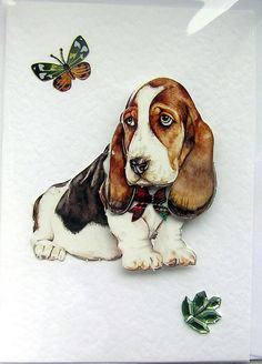 Bassett Hound HandCrafted 3D Decoupage Card  by SunnyCollectables, £1.50