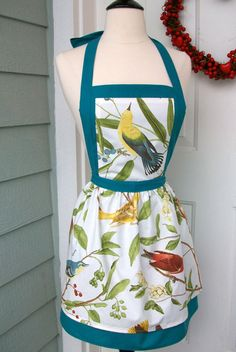 DrapesofWrath - Upcycled Womens Apron  Birds and Branches with by DrapesofWrath, $35.00