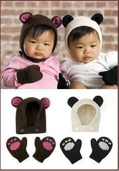 cute panda beanie and mittens
