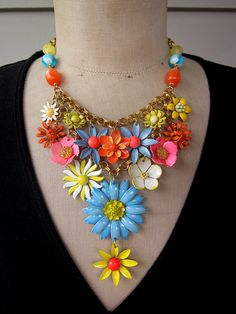 Vintage Enamel Flower Bib Statement Necklace  by rebecca3030.etsy.com