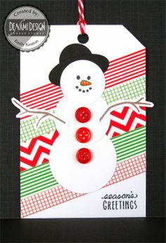 Washi Tape Snowman Holiday Gift Tag by @Emily Schoenfeld Keaton