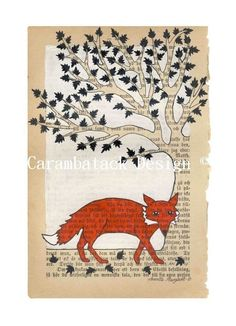 Fox and tree  Print  Red fox nursery art by carambatack on Etsy