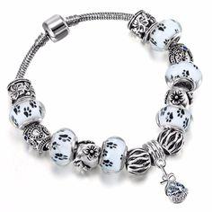 Paw Print Murano Glass Crystal Charm Bracelets