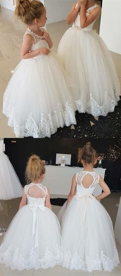 Princess A-line Ivory Long Flower Girl Dress With Sash,Scoop Neckline Open Back Flower Girl Dresses - Princess A-line Ivory Long Flower Girl Dress With Sash,Scoop Neckline Open Back Flower Girl Dresses With Lace, Source by visionbridal - Tulle Flower Girl, Princess Flower Girl Dresses, Ivory Flower Girl Dresses, Tulle Flowers, Lace Dress, Girls Dresses, Princess Girl, Two Piece Homecoming Dress, Homecoming Dresses