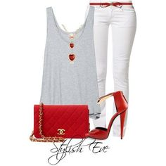 White pants are so in!! Love this red look.