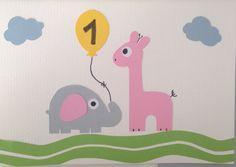 Happy 1st Birthday - greeting card Birthday Greeting Cards, Birthday Greetings, Happy 1st Birthdays, Kids Rugs, Handmade, Home Decor, Hand Made, Decoration Home, Anniversary Greeting Cards