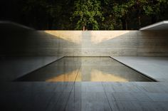 Above: A prototype for minimalist pools is seen in Ludwig Mies van der Rohe's Barcelona Pavilion, a house built in 1929 that stood for only a year. Photograph via Mies van der Rohe Society; Ludwig Mies Van Der Rohe, Detail Architecture, Space Architecture, Chinese Architecture, Futuristic Architecture, Bauhaus, Pool Drawing, Pool Designs, Home Design