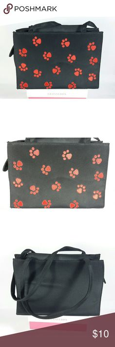 """Red Embroidered Paw Print Handbag Red embroidered paw prints on black handbag.  Super cute.  Small phone pocket on the side of the bag.  1 zipper pocket and 2 pouch pockets on the inside. Magnetic clasp closure.  Measurements  Length 10.5"""" Width 4.5"""" Height 6.5"""" Strap drop 9.5""""  Any questions, please let me know.  Bundles welcome.  Offers, please use the offer button. Boutique Bags Shoulder Bags"""