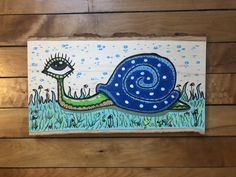 """🐌SNAILY 🐌  • Original hand-painted wood slab   • Measures approx. 6.2""""x11""""  • Made with acrylic paint and paint pens  • Sealed with glossy varnish #art #artwork #artforsale #trippy #trippyartwork #trippyart #trippypainting #surreal #surrealism #psychedelic #psychedelicart #psychedelicpainting #psychedelicartwork #thirdeye #mindseyeartwork #etsy #painting #drawing #gouache #acrylic #acrylicpainting #ink #paintpens #wood #woodpainting #woodart Art Journal Inspiration, Painting Inspiration, Art Inspo, Cute Canvas Paintings, Mini Canvas Art, Trippy Painting, Painting On Wood, Trippy Drawings, Art Drawings"""