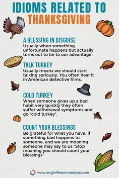Learn English idioms and phrases related to Thanksgiving. English Tips, English Idioms, English Phrases, Learn English Words, English Lessons, English Vocabulary, English Grammar, English Projects, English Study