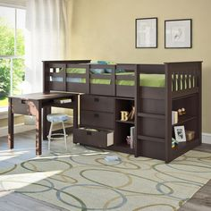 Give your child a sleeping space theyll love with the Twin/Single Loft Bed Collection from CorLiving. A stylish addition to any room, this loft bed has a Rich Espresso finish and shaker inspired detailing. It features a raised bed, three la Bunk Bed With Desk, Bunk Beds With Stairs, Kids Bunk Beds, Bed With Drawers, Single Loft Bed, Double Loft Beds, Low Loft Beds, Kids Bedroom Furniture, Home Office Furniture