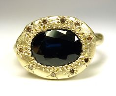 Katherine Bowman  Trade wind ring with sapphire and champagne diamonds