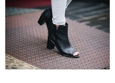 "Punch Black Ankle Boots Open Toe Heels Zipper Custom Made Hand Made Shoes ""Made To Order"""