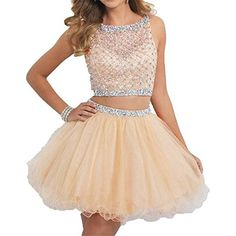 Fashion Plaza Crystal Evening Homecoming Dress Short D0295 (US4, Light Blue)