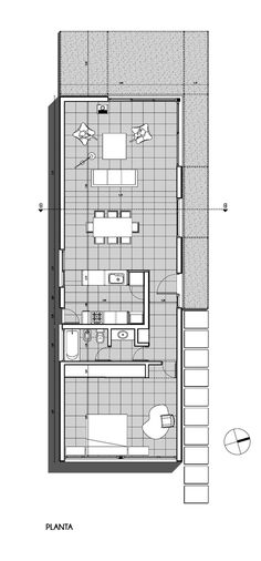 I would change this Floor Plan slightly, making better use of the open plan. Modern House Plans, Small House Plans, House Floor Plans, Layouts Casa, House Layouts, Casas Containers, Narrow House, Modular Homes, Cabin Plans