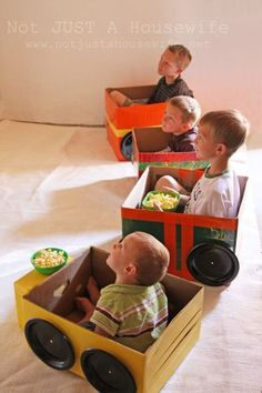 """Drive-in movie with """"cars"""" made out of boxes (Not Just a Housewife) - What fun for a party theme!:"""