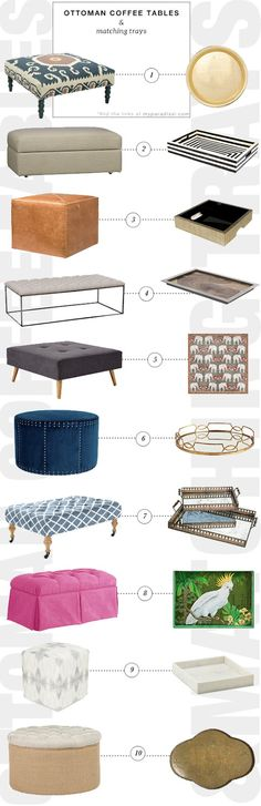 10 ottomans that can be used as coffee tables and their matching trays to be placed atop | My Paradissi