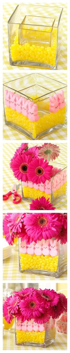How to Make an Easter Peeps Centerpiece from Taste of Home -- http://pinterest.com/taste_of_home/
