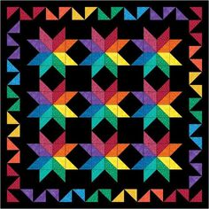 "This free quilt pattern is called ""Rainbows All Around"". Get it now…it's only free until March granny square crochet afghan? Bright Quilts, Colorful Quilts, Embroidery Designs, Quilting Designs, Amish Quilts, Star Quilts, Quilt Blocks, Half Square Triangle Quilts, Square Quilt"