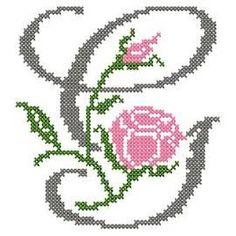 design-Cross Stitch-Abc Rose anglaise-G Christmas Cross Stitch Alphabet, Cross Stitch Alphabet Patterns, Cross Stitch Borders, Cross Stitch Flowers, Cross Stitching, Cross Stitch Embroidery, Hand Embroidery, Embroidery Patterns, Monogram Alphabet