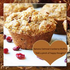 Banana Oatmeal Cranberry Muffins Recipe from Mamma's Recipes