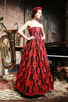 gorgeous red and black gown from alice + olivia