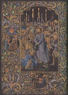 """The """"Black Book of Hours""""  Bruges c.1466-1475  The """"Black Book of Hours"""" is so called, because the parchment was dyed to a deep black color before it was written and decorated."""
