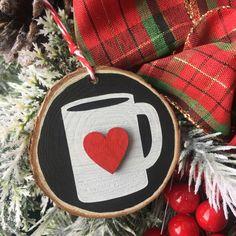 Coffee Ornament, Coffee Christmas Ornament, Wood Slice Ornament, Coffee Mug Ornament, Gift for Coffee Lover,  Coffee Bar by CreateCraftLoveShop on Etsy https://www.etsy.com/listing/468744724/coffee-ornament-coffee-christmas