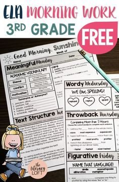FREE ELA Morning Work Grade // A LOT of skills in a LITTLE amount of time. The simplest and most engaging way to consistently over critical ELA content in 10 minutes per day. Perk up your morning routine now! 4th Grade Ela, Third Grade Writing, 3rd Grade Classroom, 4th Grade Reading, 3rd Grade Centers, Grade 3, Literacy Centers, Third Grade Art, Classroom Ideas