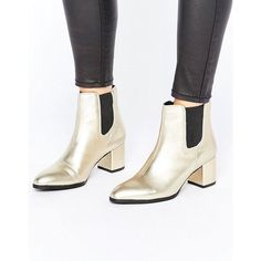 Park Lane Interest Material Heeled Chelsea Boots ($78) ❤ liked on Polyvore featuring shoes, boots, ankle booties, gold, pointy toe booties, genuine leather boots, chelsea bootie, leather ankle booties and leather upper boots