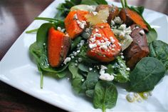 Roasted Sweet Potato Salad with Sweet Onion, Baby Spinach, Parsley, Goat Cheese and Lime Vinaigrette