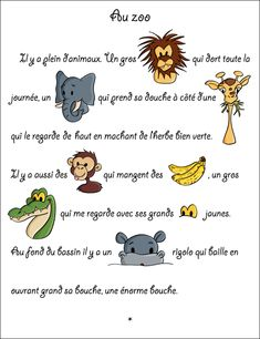 Story with holes: At the zoo - the animals French Language Lessons, French Lessons, French Teaching Resources, Teaching French, French Worksheets, Le Zoo, Core French, French Classroom, Yoga
