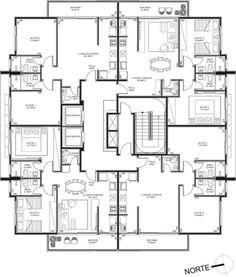 Apartment Floor Plans, House Floor Plans, Home Design Plans, Plan Design, Architecture Plan, Residential Architecture, Drawing House Plans, Architectural Floor Plans, Archi Design