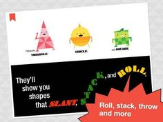 Shapes That Roll for iPad - a storybook (about 18 pages long) illustrated by Steve Wilson with additional activities (interactions, puzzles). Original Appysmarts score: 91/100