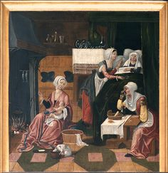 Dortmund, Petrikirche, altar, painted panels,It was commissioned in 1521 from Jan Gilleszoon Wrage sculptor, and Adriaan van Overbeck, painter, of Antwerpen. Here, the birth of Mary. Great details, but I don't want to know what the cat is eating.