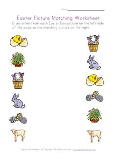 Easter worksheets for several different skills