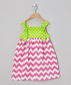 Love this Helene's Closet Pink & Lime Zigzag Polka Dot Dress - Toddler & Girls by Helene's Closet on #zulily! #zulilyfinds