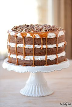 This Caramel Pecan Carrot Cake recipe is creamy and delicious. This naked cake is so beautiful, it is great to make when having people over for a party!