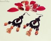 Boucles d'oreilles Bronze Glamour Orange & Chocolat : Boucles d'oreille par heaven-s-shop