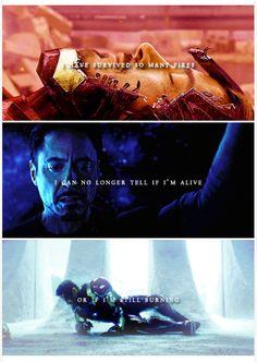 Heroes fall and rise again, shining.  Tony Stark, Avengers, Civil War.