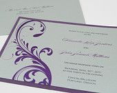 Elegant Formal Modern Purple Wedding Invitation