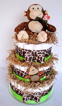 Diaper Cake - Green & Brown Monkey Safari Theme Baby Shower Diaper Cake Centerpiece - 3 Tier