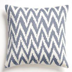 Chevron Crewel Pillow Cover - Dusty Blue | west elm