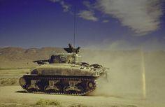 """U.S. Medium Tank M4A2 """"Sherman"""" in North Africa."""