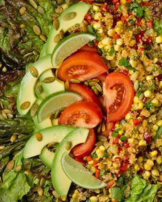 Quinoa and Corn Salad with Pumpkin Seeds    1/4 cup freshly squeezed lemon juice  1 teaspoon ground cumin  1 teaspoon chili powder  1 medium garlic clove minced or pressed  1/2 cup extra-virgin olive oil sea salt  1 1/2 cups quinoa )  2 ears corn kernels cut from cob  1  red pepper cored,   1 large cucumber   3 scallions   1 large jalapeno pepper   1/4 cup cilantro leaves  Sea salt  1 medium head red-leaf lettuce   2 ripe medium tomatoes   1 lime   1/4 cup pumpkin seeds toasted