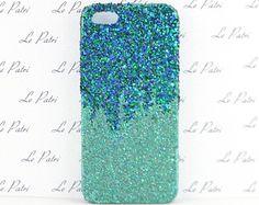 Aqua Ombre Glitter Bling Phone Case Phone Cover Made in USA
